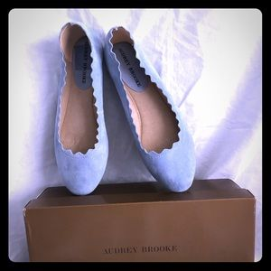 New with box Audrey Burke Blue Suede Flats